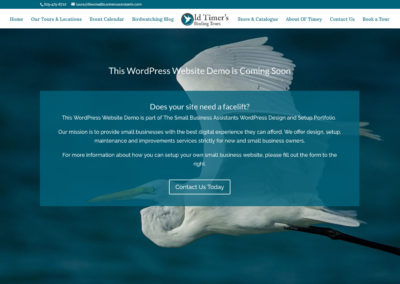Splash Page Demo: Old Timer's Birding Tours